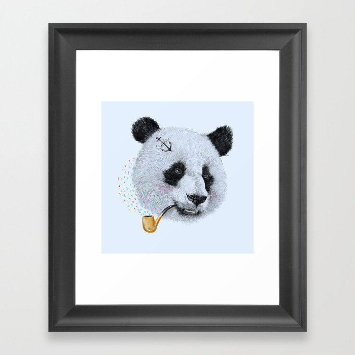 Panda Sailor Framed Art Print