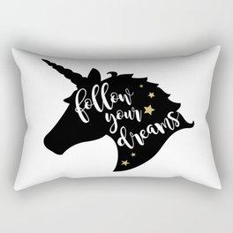 """""""Follow Your Dreams"""" Unicorn Rectangular Pillow"""