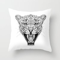 leopard Throw Pillows featuring Leopard by Libby Watkins Illustration