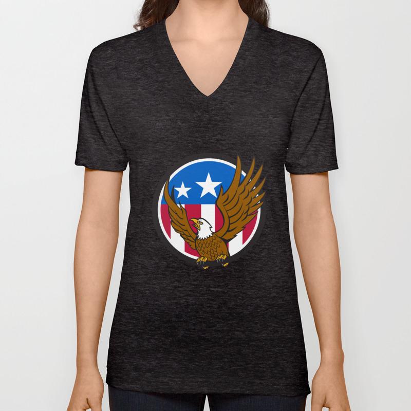 34f49ab4 Bald Eagle Spread Wings USA Flag Circle Retro Unisex V-Neck by patrimonio