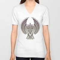 silent V-neck T-shirts featuring Silent Flight (Owl Wings) by Rachel Caldwell
