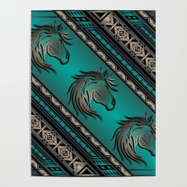 Horse Nation (Aqua) Poster