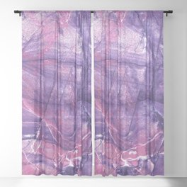 Smokey Ultra Violet and Pink Marble Sheer Curtain