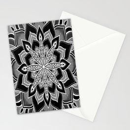 Mandala: Black Gray White Flower Stationery Cards