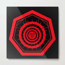 Fugu Japanese Crest (Red) Metal Print