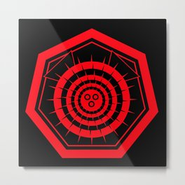 Fugu Japanese Crest (Red) Metal Print