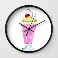 drink Wall Clocks featuring drink  by Watercolor_2011
