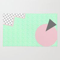 memphis Area & Throw Rugs featuring MEMPHIS GREEN by Rocío Olmo