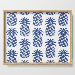 Retro Mid Century Modern Pineapple Pattern Blue Serving Tray