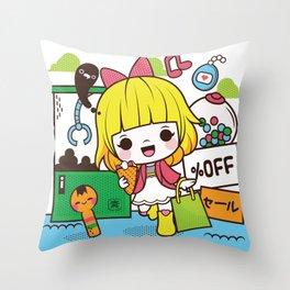 Kokeshi Girl Throw Pillow