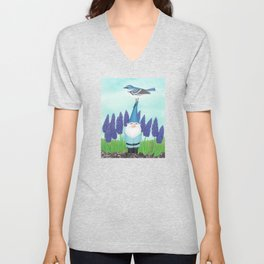 gnome with cerulean warbler and grape hyacinths Unisex V-Neck