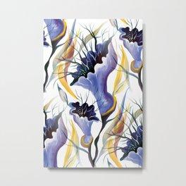 Watercolor Blue Lilac Tropical Orchids Metal Print