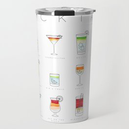 Cocktails flat menu horisontal white Travel Mug