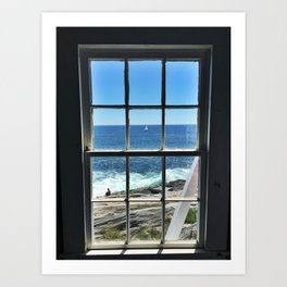Sailboat in a Window at Pemaquid Point Lighthouse Art Print
