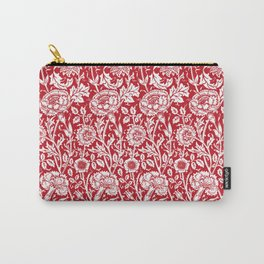 "William Morris Floral Pattern | ""Pink and Rose"" in Red and White Carry-All Pouch"