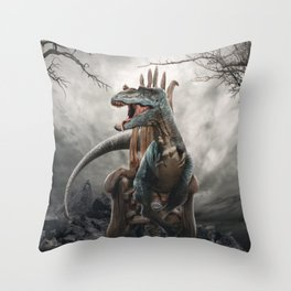 dino warrior Throw Pillow