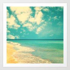 Retro beach and turquoise sky (square) Art Print
