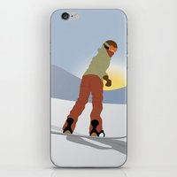 snowboard iPhone & iPod Skins featuring Snowboard Illustration by Nikki Gagliardo