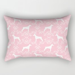 Doberman Pinscher floral silhouette pink and white minimal basic dog breed pattern art Rectangular Pillow