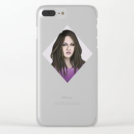 Young woman in violet Clear iPhone Case
