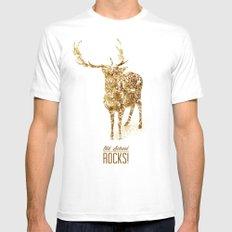 Old School Rocks! Gold Deer Version White MEDIUM Mens Fitted Tee