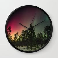 northern lights Wall Clocks featuring Northern Lights  by Limitless Design