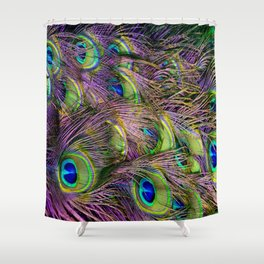art nouveau bohemian turquoise purple teal green peacock feather Shower Curtain
