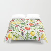 vegetables Duvet Covers featuring Watercolor vegetables by Achtung