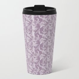 Vintage-style Lily-of-the-Valley on Mauve Travel Mug