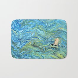 Small Boat on The High Seas Bath Mat