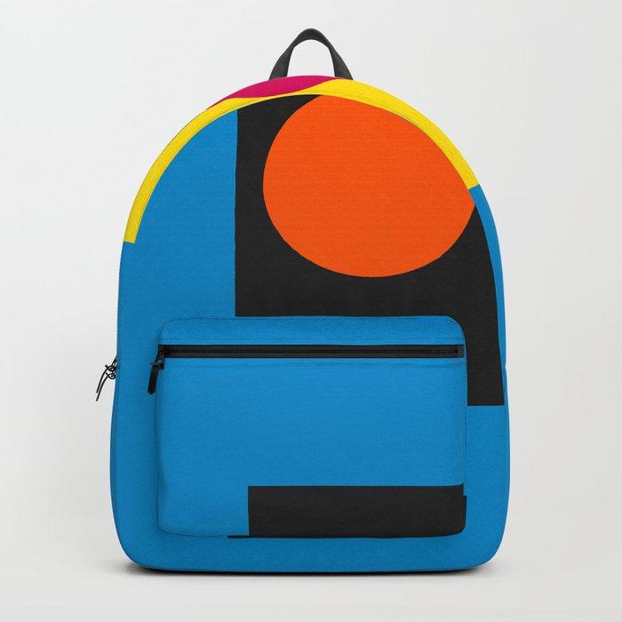 Abstract Blue Minimal Art with Circles Decoration Rucksack