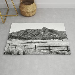 Flatirons Boulder // Black and White Colorado Mountains Snow Dust Fence Line Rug