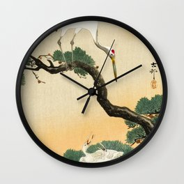 Crane and its chicks on a pine tree  - Vintage Japanese Woodblock Print Art Wall Clock