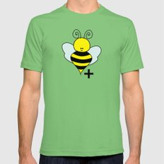 Bee Positive Mens Fitted Tee Grass X-LARGE