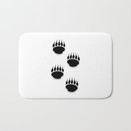 Black Bear Paw Prints Bath Mat