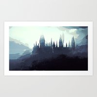 potter Art Prints featuring Harry Potter - Hogwarts by Juniper Vinetree