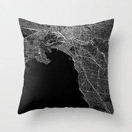 Melbourne Black Map Throw Pillow