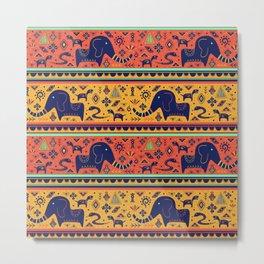 Walking With Elephants Metal Print