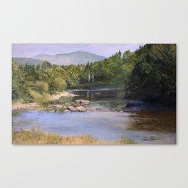 Landscape Vermont Summer River Watercolor Canvas Print