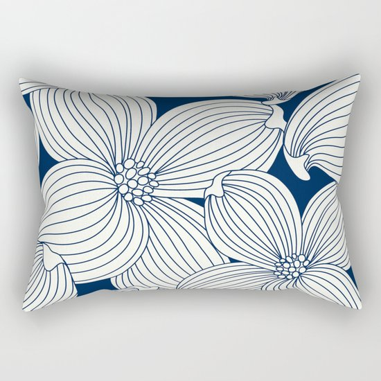 Dogwood Big Linear Floral: Navy Ivory Rectangular Pillow