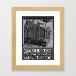 retro old Visit Ghent poster Framed Art Print