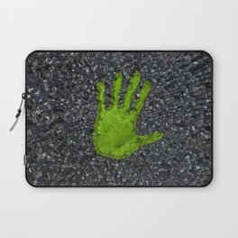Carbon handprint / 3D render of modern city with handprint shaped park Laptop Sleeve
