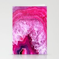 agate Stationery Cards featuring pink agate by haroulita