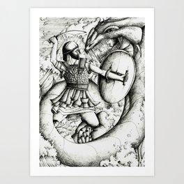 Perseus fighting the sea monster Art Print