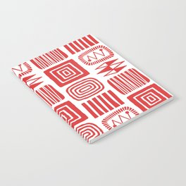 Retro Mid Century Modern Check Pattern 240 Red Notebook