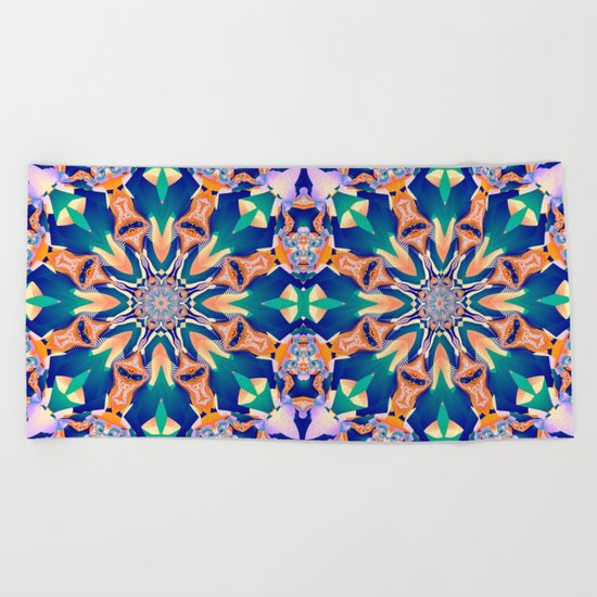 Abstract kaleidoscope with tribal patterns Beach Towel