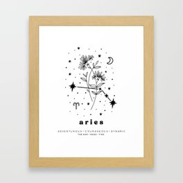 Aries Constellation and Birth Flower Framed Art Print