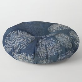 Denim Blue Shibori Sea Urchin Burst Pattern Floor Pillow