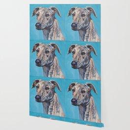 Azawakh sighthound dog portrait art from an original painting  by L.A.Shepard Wallpaper