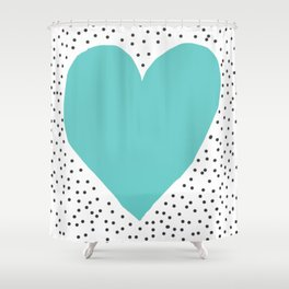 Turquoise heart with grey dots around Shower Curtain